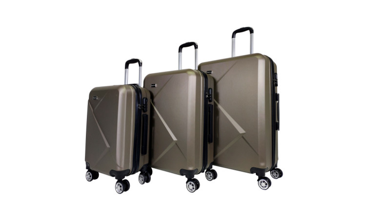 SUPERFLY - Set de 3 valises - Unlimited - ABS - Gris Gold -  4 roues - 75, 65 et 55 cm / France