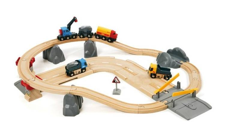 Jeu en bois BRIO World - Circuits rail route - Transport de roches / France