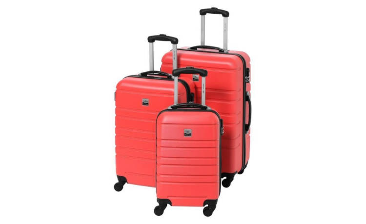 Set de 3 Valises rigides FRANCE BAG ABS 4 Roues 55-65-70 cm - Rouge / France